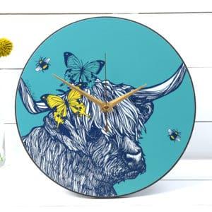 Highland cow clock by Gillian Kyle