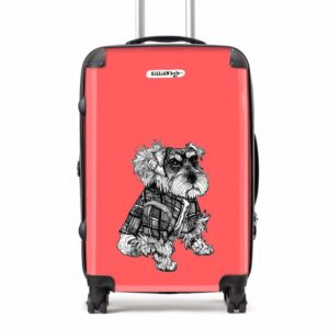 Hamish the Miniature Schnauzer suitcase in red by Gillian Kyle