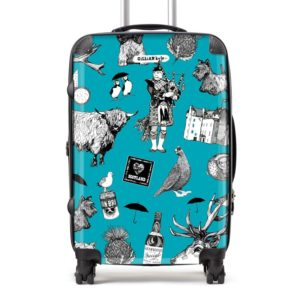Love Scotland Scottish icons suitcase featuring Irn-Bru, Highland cows, bagpipes and puffins from Gillian Kyle