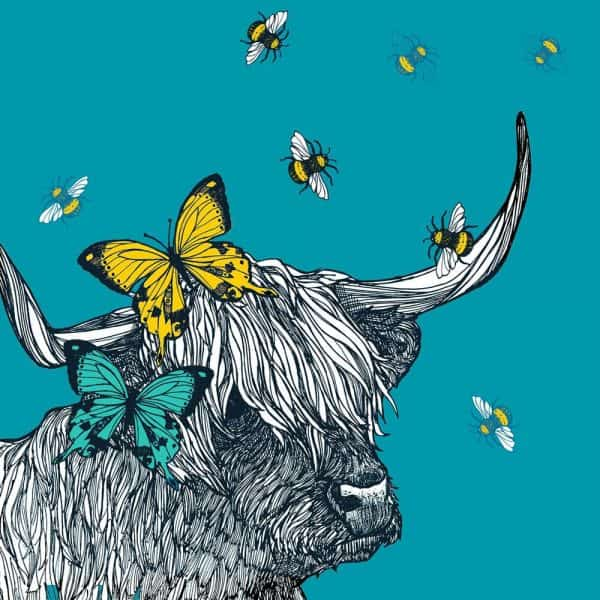 Print detail of scottish Highland cow suitcase with butterflies and bees by designer Gillian Kyle