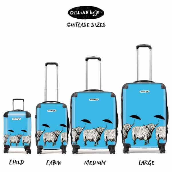 Dougal Highland Cow pattern case in sky blue by designer Gillian Kyle