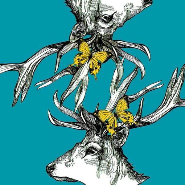 Print detail of designer suitcase by Gillian Kyle with Scottish stag with butterflies and bees in turquoise