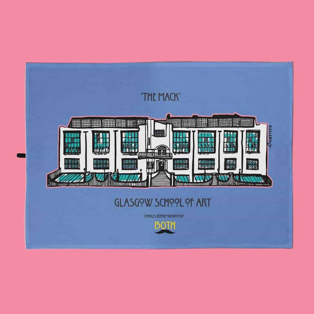 Charles Rennie Mackintosh Glasgow School of Art and font design tea towel celebrating the Scottish artist, designer and architect on his 150th birthday by Gillian Kyle