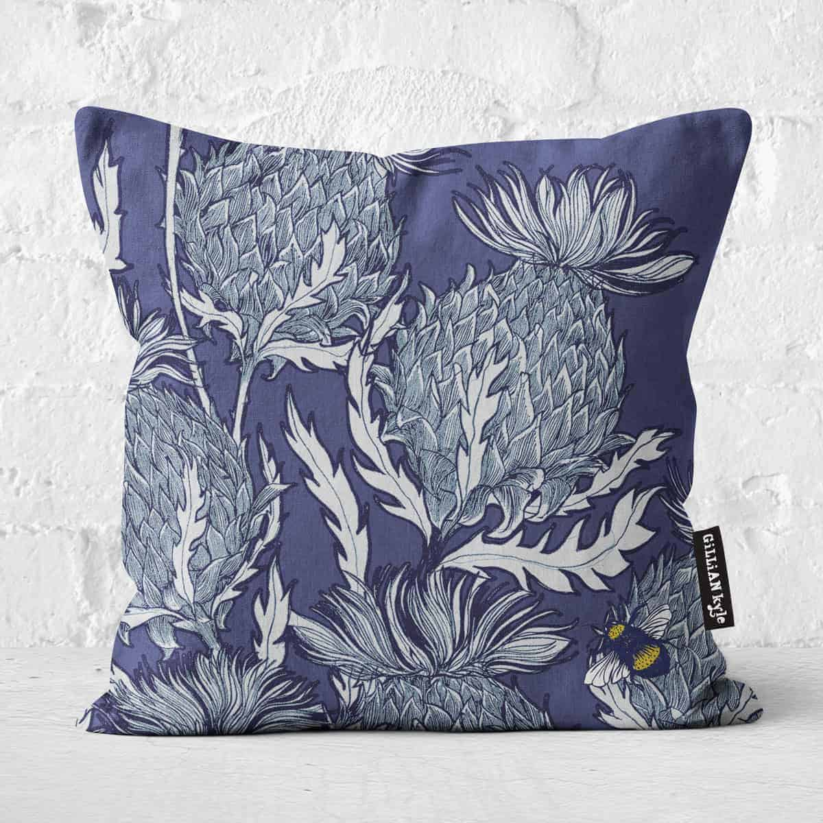 Flower of Scotland, Scottish Thistle cushion design by Scottish artist Gillian Kyle