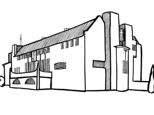 Charles Rennie Mackintosh Glasgow School of Art illustration of house for an art lover by Gillian Kyle