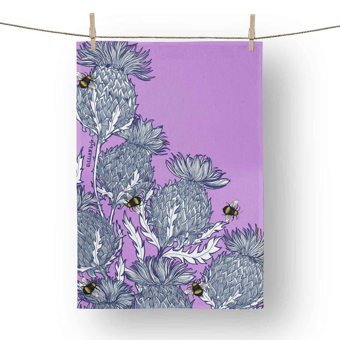 Flower of Scotland, Scottish Thistle tea towels by Scottish artist Gillian Kyle