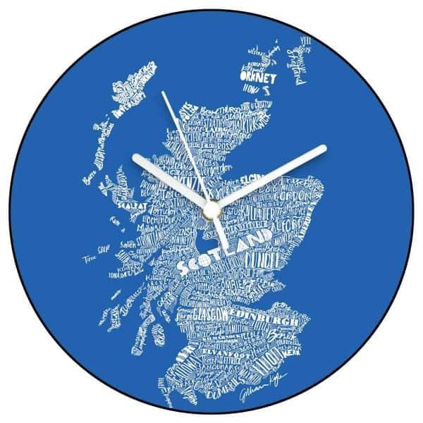 Scottish Map Wall Clock in saltire Scottish flag colours by Scottish designer Gillian Kyle