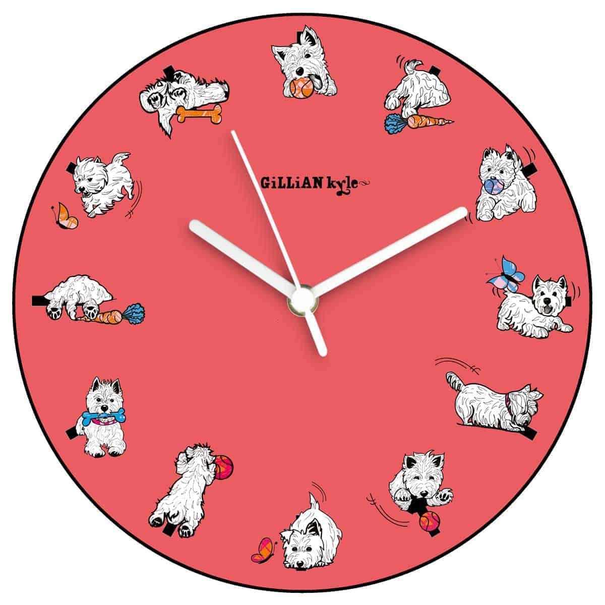 Westie World Scottish West Highland Terrier Westy kitchen wall clock by Gillian Kyle
