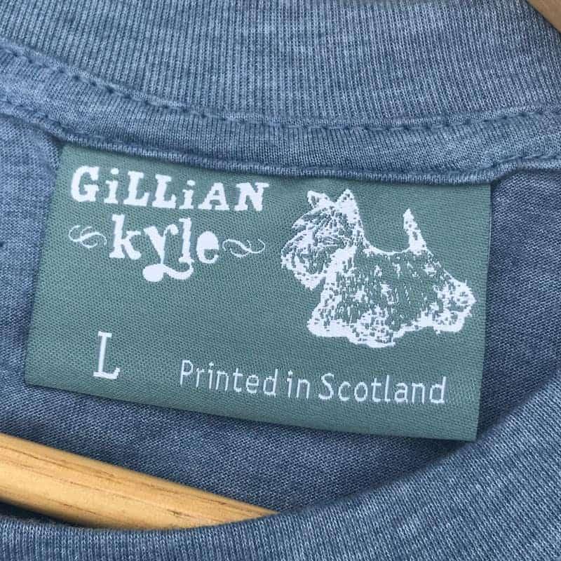 Flower of Scotland Scottish thistle t-shirt for men in blue by Gillian Kyle