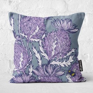 Flower of Scotland Scottish thistle cushion by Scottish artist Gillian Kyle