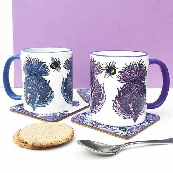 Scottish Thistle Mugs by Scottish artist Gillian Kyle
