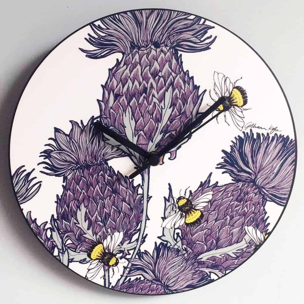 Scottish Thistles wall clock by Gillian Kyle