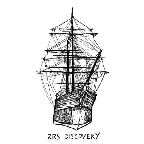Scottish artists Gillian Kyle's illustration of RRS Discovery beside the V&A at Dundee