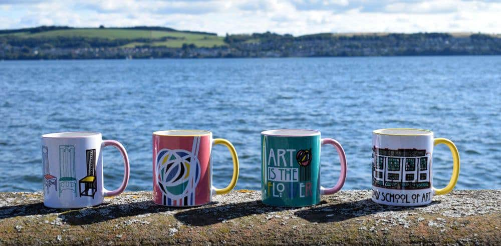 charles Rennie mackintosh mugs on the river tay by Scottish artist Gillian Kyle celebrating the opening of the V&A Dundee