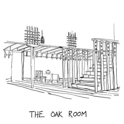 Illustration of Charles Rennie Mackintoshes Oak Room at the V&A Dundee by Scottish Artist Gillian Kyle