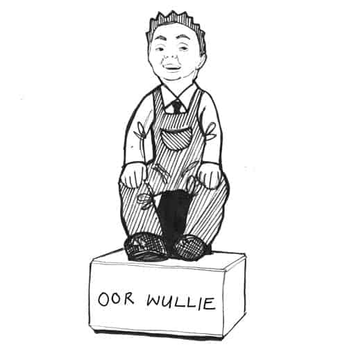 Illustration of Our Wullie Bucket Trail Dundee statue by Scottish artist Gillian Kyle