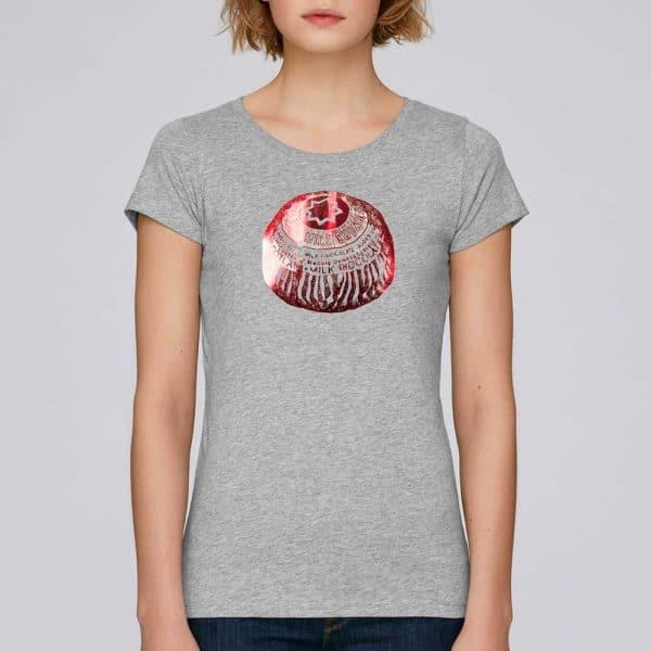 Tunnock's Tea Cake women's foiled t-shirt in grey by Gillian Kyle