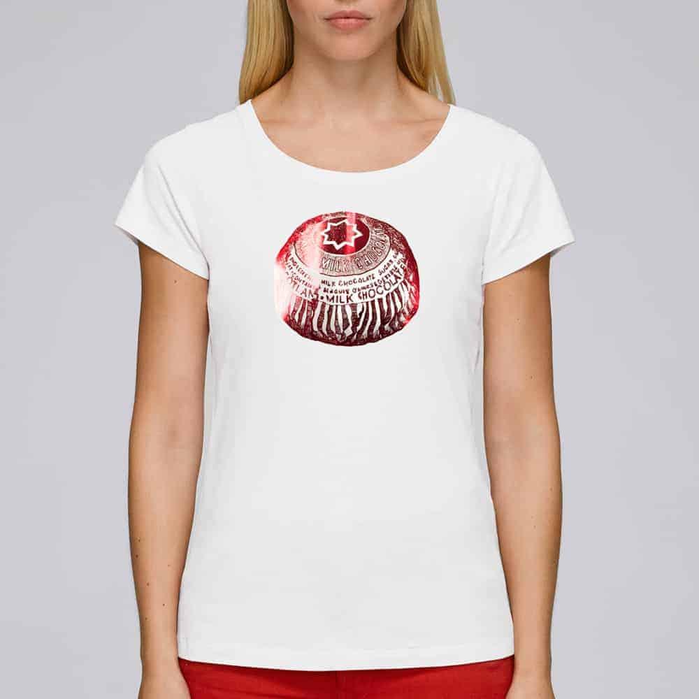 Tunnock's Tea Cake women's foiled t-shirt in white by Gillian Kyle