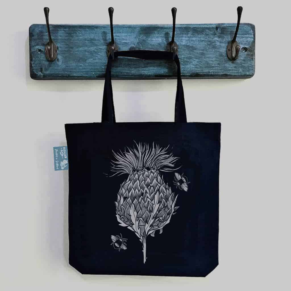 Scottish Thistle tote bag in black cotton canvas by Gillian Kyle