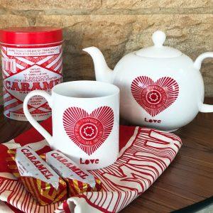 Tunnock's teacake 'Love Tunnock's' fine bone china teapot by Scottish Artist Gillian Kyle