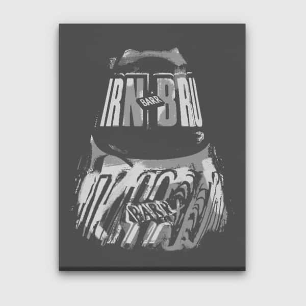 IRN-BRU canvas in grey by Gillian Kyle