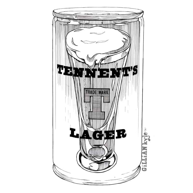 Tennents lager illustration by Gillian Kyle