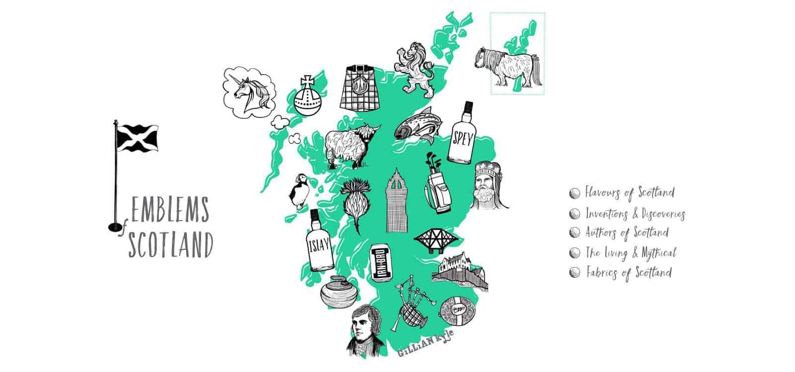Emblems of Scotland by Scottish Artist Gillian Kyle