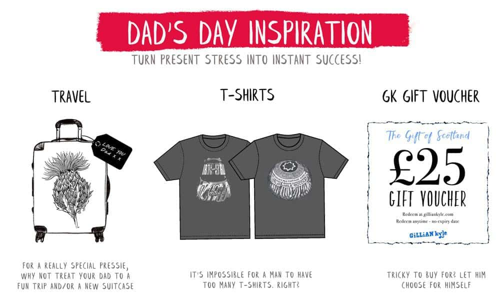Father's Day gifts and Scottish gifts for him by Scottish atist Gillian Kyle