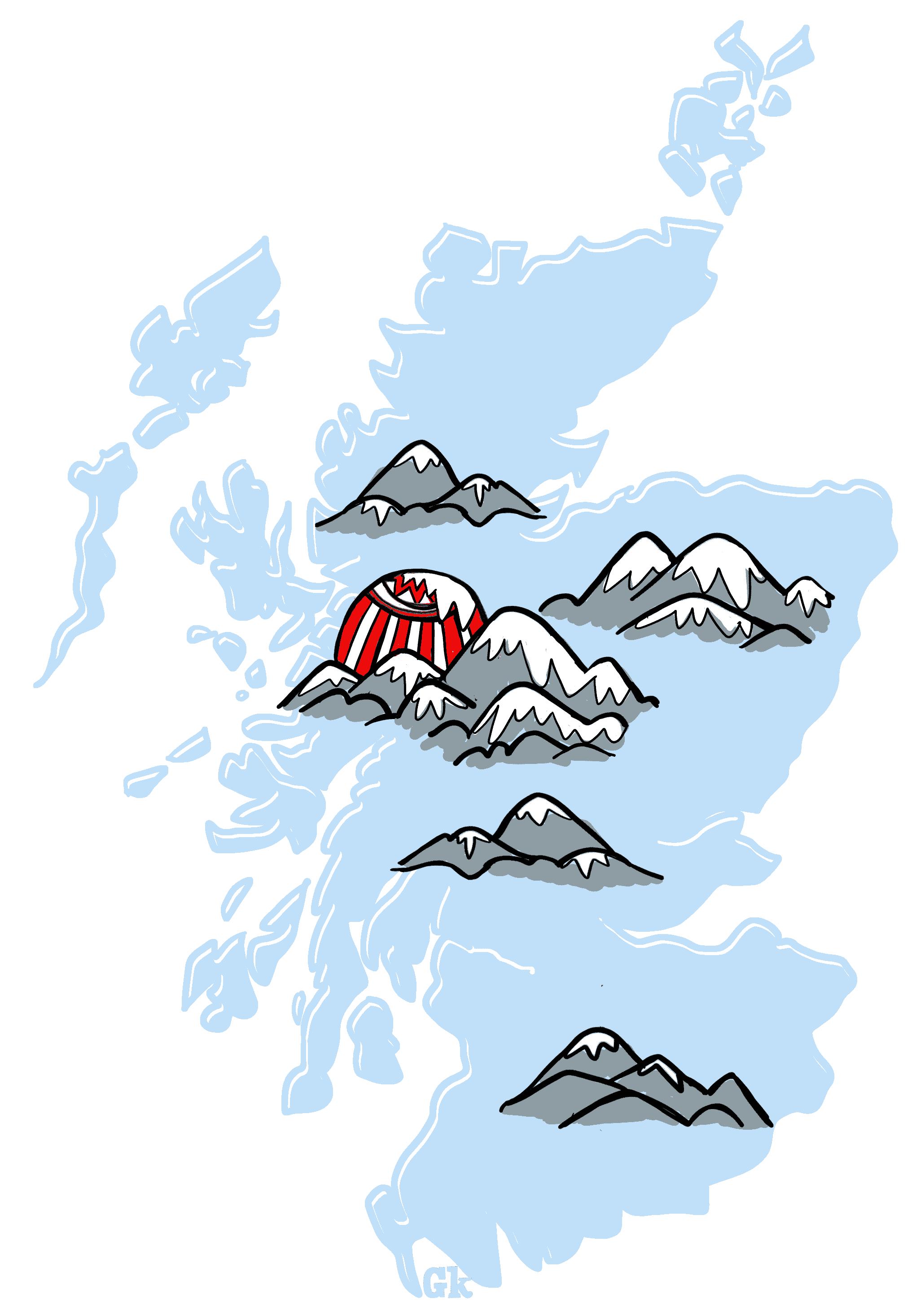 Scottish mountains map of Scotland