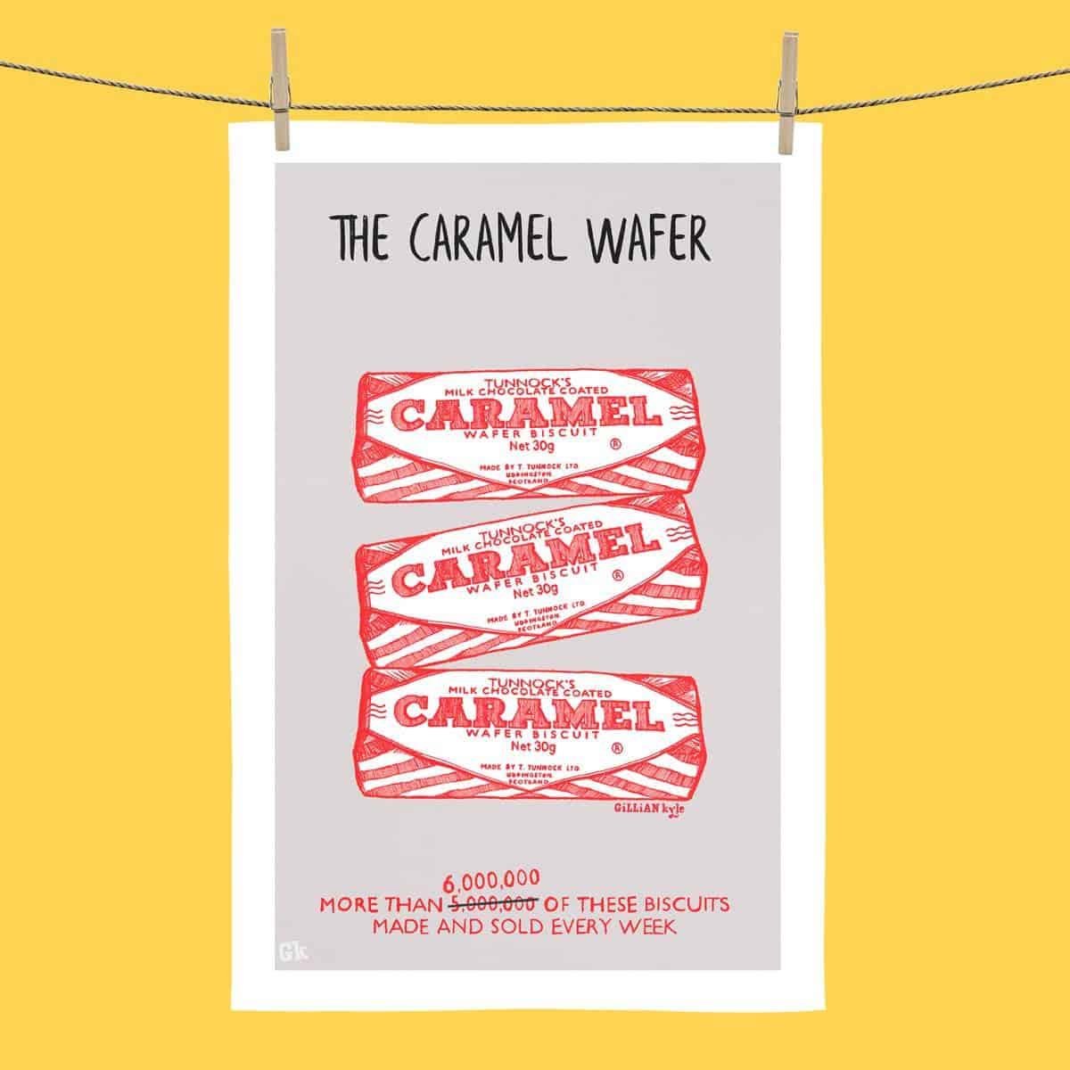 6 Million Tunnocks Caramel Wafer tea towel