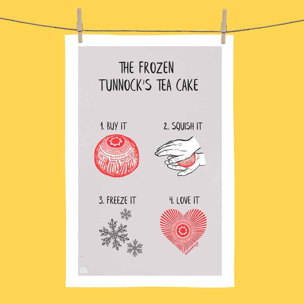 The Frozen Tunnocks Tea Cake tea towel