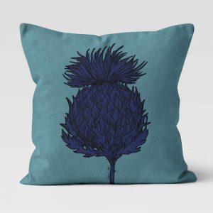 Scottish Thistle Cushion in Sea Green by Scottish Artist Gillian Kyle
