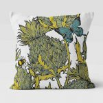 Jaggy Beasts Scottish Thistle Cushion in Ochre by Gillian Kyle