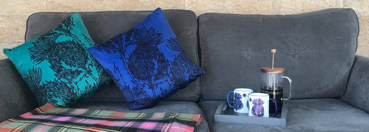 Scottish Thistle cushions by Gillian Kyle