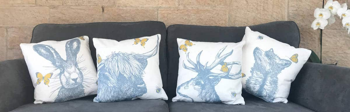 Scottish Animals cushions by Gillian Kyle