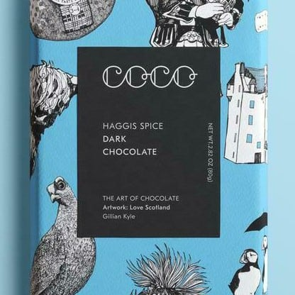 Haggis spice chocolate wrapper by Gillian Kyle