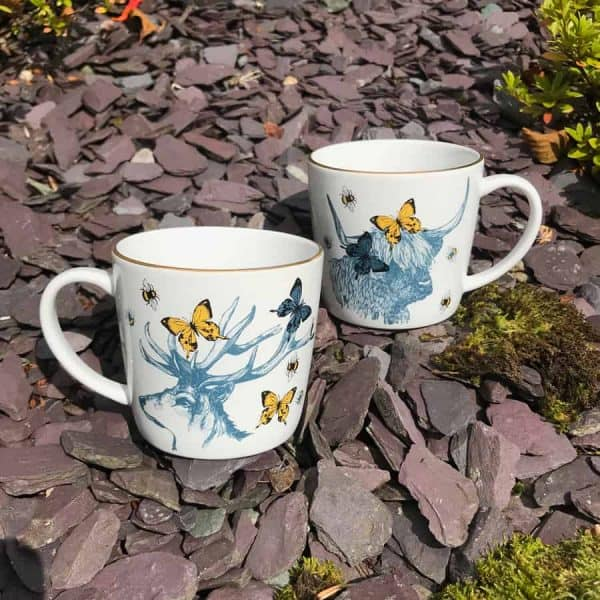 Scottish Stag and Highland Coo mugs