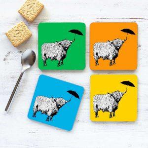 Dougal Highland Cow Coaster set