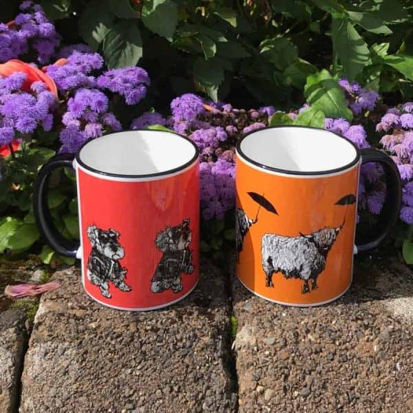 Colourful Scottish mugs