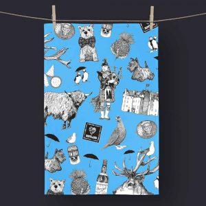 Love Scotland Scottish Icons Blue Tea Towel
