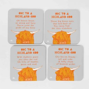 Ode to a Highland Cow coasters by Gillian Kyle