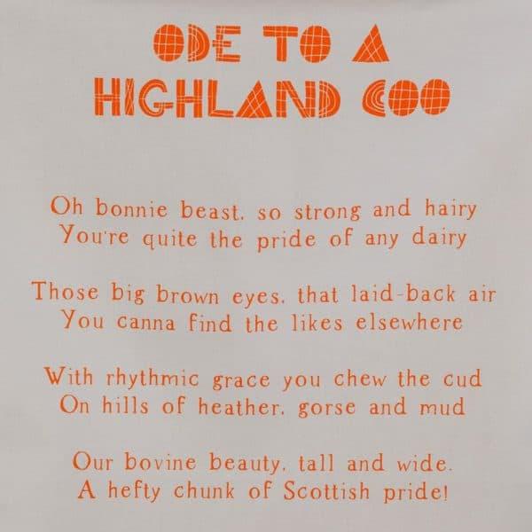 Ode to a Highland Cow tea towel