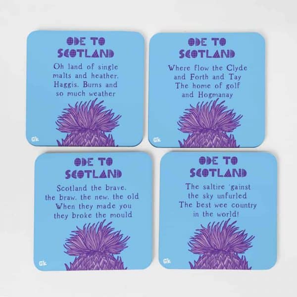 Ode to Scotland coasters by Gillian Kyle