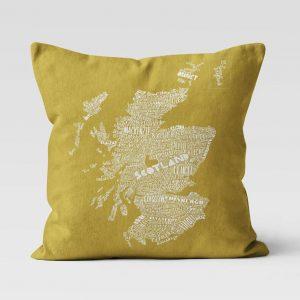 Scottish Map cushion by Gillian Kyle