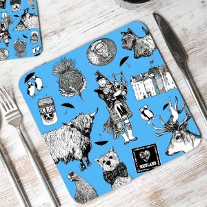 Love Scotland placemats in blue