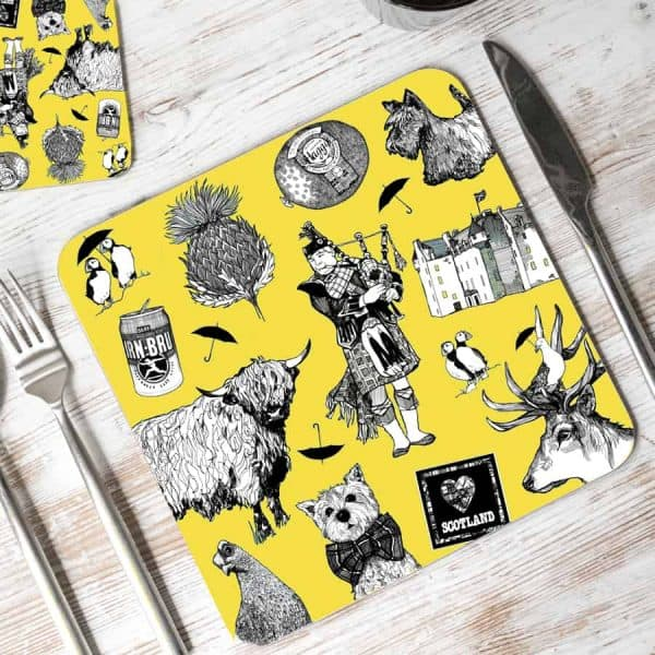 Love Scotland placemats in yellow