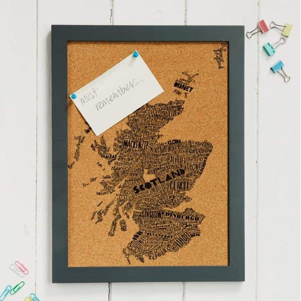 Mapped Out Scotland Map cork pin board