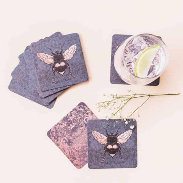 Dark Floral Bee Paper Coasters
