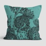 Black Thistle Cushion in pale jade by Gillian Kyle
