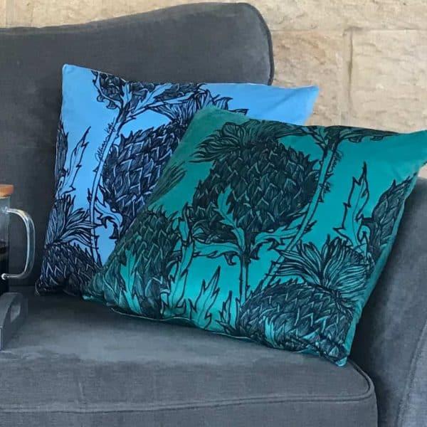 Black Thistle Cushions by Gillian Kyle
